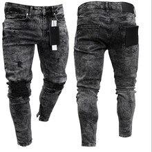 Байкер джинсы мужчины% 27 рваные стрейч рваные байкер джинсы мужчины хип хоп приталенный крой дырки панк деним джинсы хлопок брюки молния джинсы