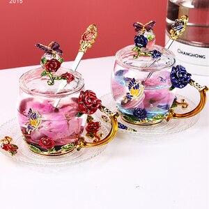 Beauty и Новинка, эмалированная кофейная кружка, чайные стеклянные чашки с цветами для горячих и холодных напитков, чайная чашка, набор ложек, и...