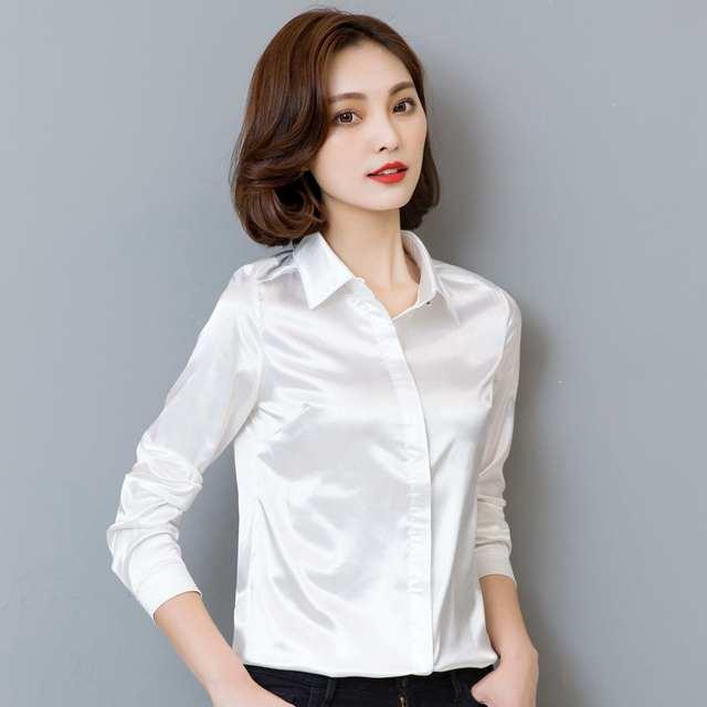 Elegant Office Ladies Work Shirt Women Blouse Long Sleeve Lapel Hidden Buttons Bright Basic Satin Silk Women Shirt Female Tops