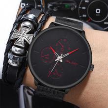 цены Fashion Men Watch 2019 Unique Style Men's Slim Steel Mesh Quartz Wristwatches For Man Waterproof Clock Male relogio masculino