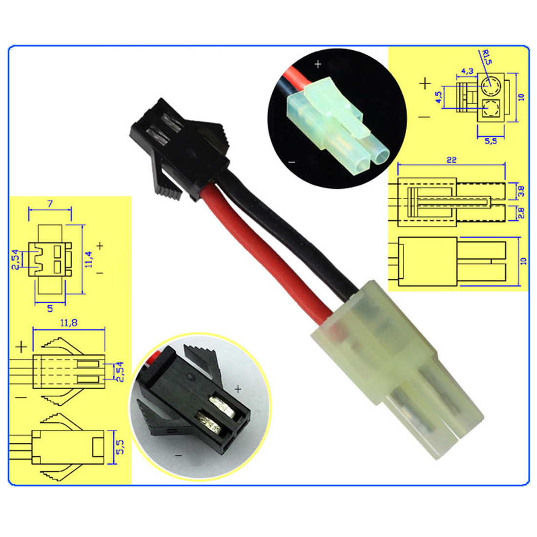 SM Male To Tamiya Head Male Plug Conversion Adapter Line Plug For Water Gel Beads Blaster Battery Modification And Upgrade