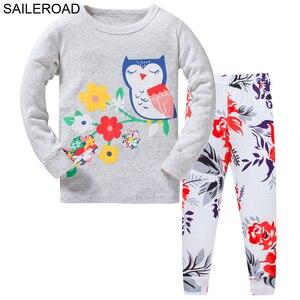 SAILEROAD детский пижамный комплект с рисунком совы, хлопковая ночная рубашка для девочек, Осень-зима 2020