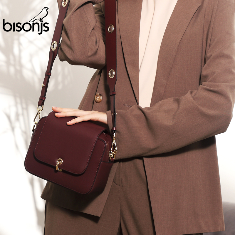 BISONJS Leather Women Bag New Luxury Handbags Women Bags Designer Ladies Fashion Shoulder Bag Crossbody Bags B1595