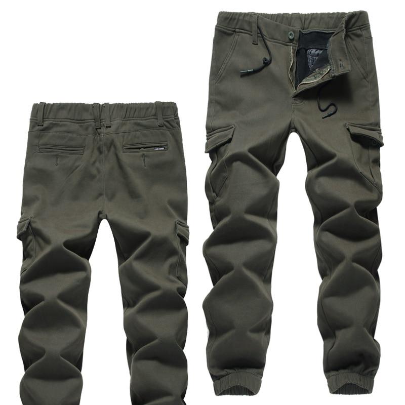 Large Size Winter Fleece Lining Casual Bib Overall Men Large Pocket Decoration Thick Warm Beam Leg Fashion Pants