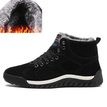 Męskie buty męskie buty zimowe moda śnieg buty buty Plus rozmiar zimowe trampki kostki męskie buty zimowe buty czarne niebieskie obuwie tanie i dobre opinie EZUOGO Bezpłatne elastyczne Lace-up Air max Buty do biegania 5 km Zamsz + tkaniny Betonowej podłodze Początkujący Dla dorosłych