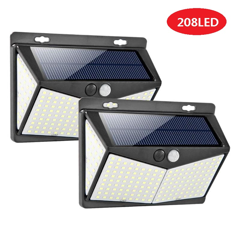 Solar Lamp 208 LED PIR Motion Sensor Lamp Outdoors IP65 Waterproof Solar Garden Lights Emergency Security Light Solar Wall Lamp