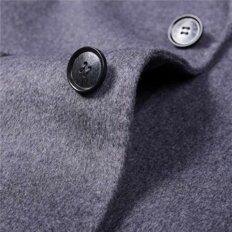 Kış ceket erkek yün ceket 2020 yeni çift taraflı tek düğme uzun ceket erkekler için iş rahat palto dış giyim artı boyutu