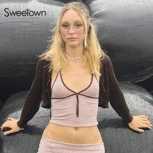 Sweetown różowy nadruk w paski 90s krótkie bluzki damskie Y2K estetyczne śliczne Kawaii ubrania kontrastowe szyte V Neck Sexy E Girl Tank Top