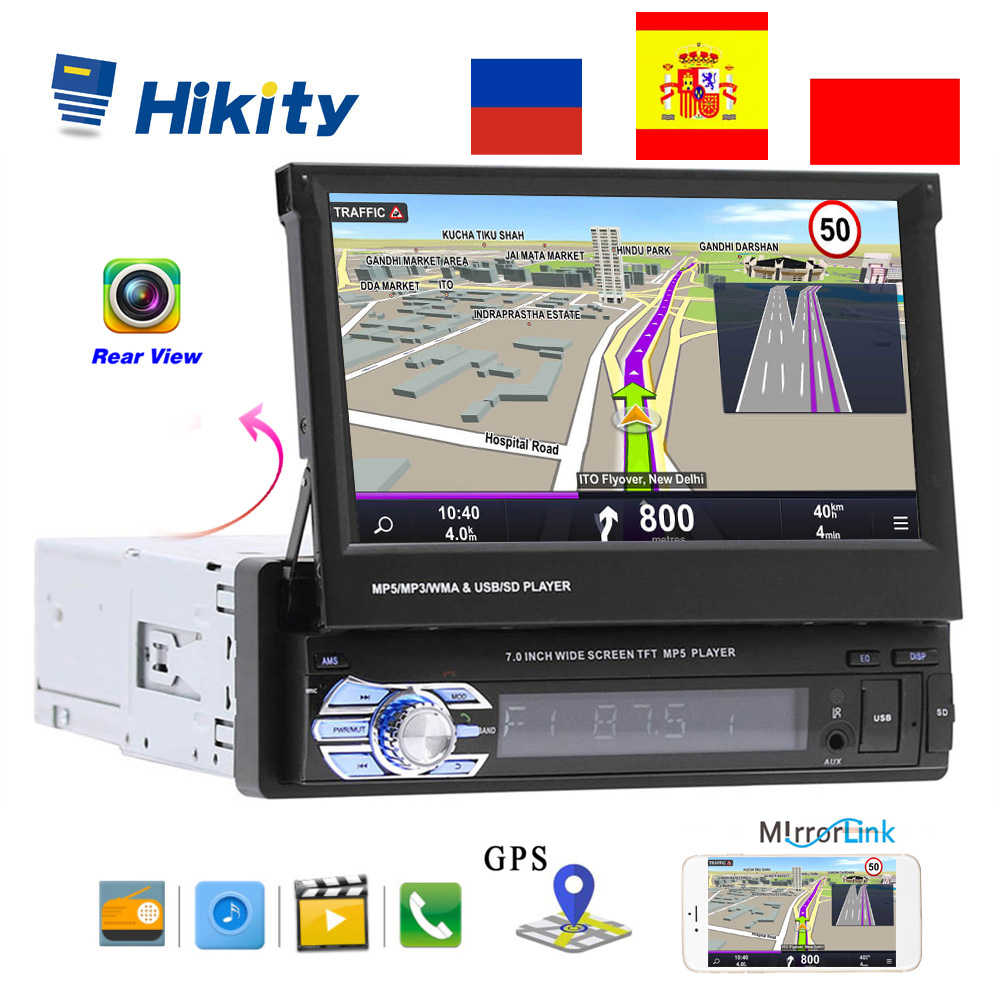 "Hikity 1 din 7 ""Universal Car Radio di Navigazione di GPS Bluetooth Videocamera Vista Posteriore Auto radio lettore Video MP5 Audio Stereo FM USB SD"