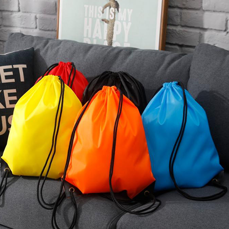 3PCS Custom LOGO Sports Waterproof Beam Pocket Female Drawstring Backpack Male Small Back Bag Student Training Class Printing