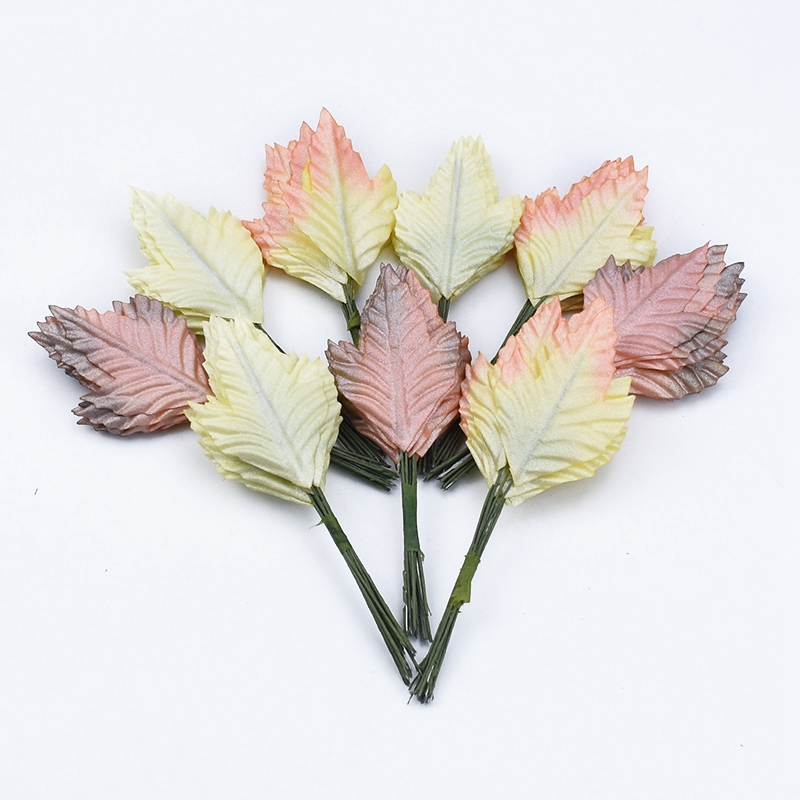 12pcs Christmas Decorations For Home Garland Scrapbooking Flowe Wall Bridal Brooch Candy Box Artificial Plants Christmas Leaves