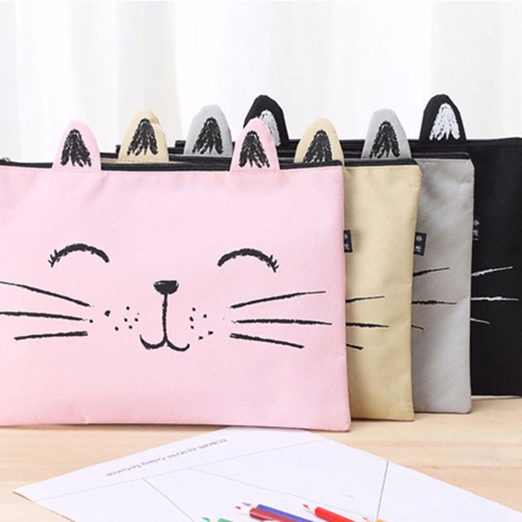 1 Pcs Cute Cat Mustache Zipper Canvas A4 File Bag Student Storage Bag Pencil Case Box Stationary Accessories Tool