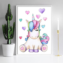 Cute Children Poster Unicorn Canvas Wall Art Print Painting Decoration Home Picture Nordic Kids Bedroom Decor Baby Gift Unframed