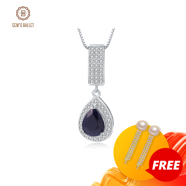 GEMS BALLET 925 Sterling Silver Jewelry 1.29Ct Natural Water Drop Blue Sapphire Elegant Pendant Necklace for Women Fine Jewelry
