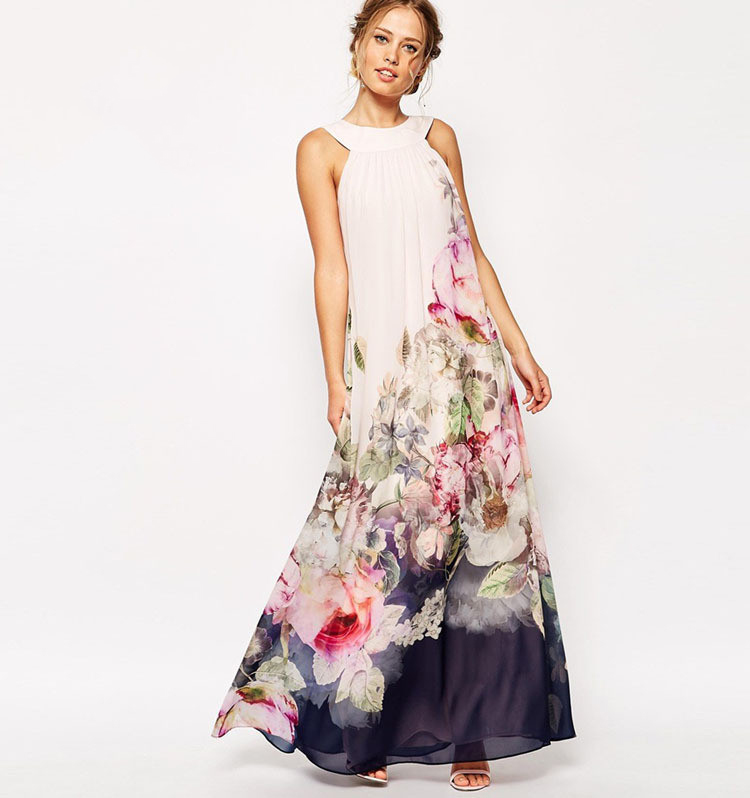 Summer Fashion Long Print Floral Pattern Long Chiffon Dress For Wedding Party Sexy Club Prom Dress Sister Vestido Azul Marino