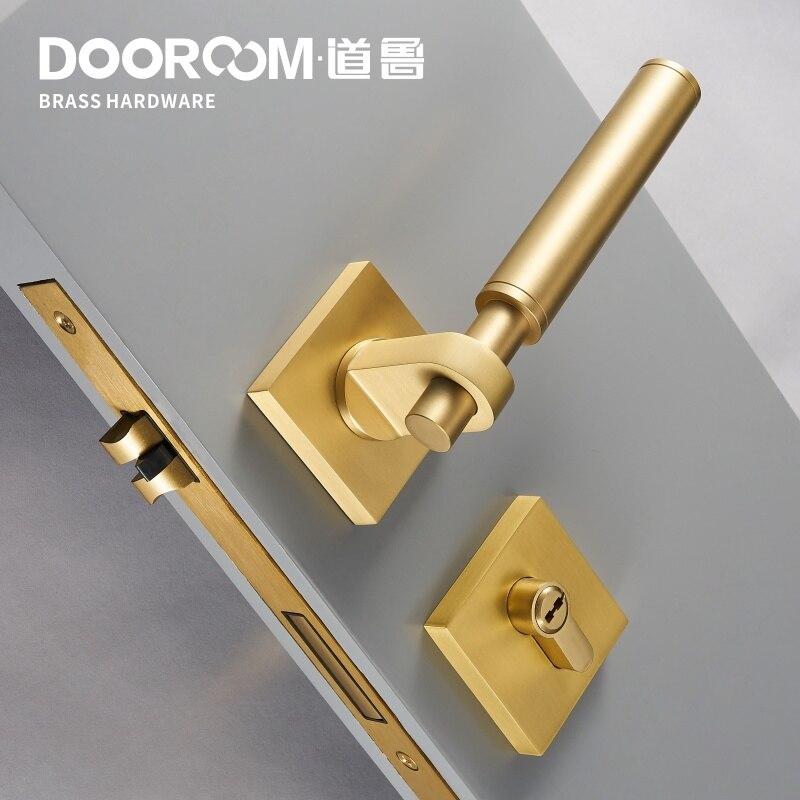 Dooroom Brass Door Lever Set Modern Interiror Bedroom Bathroom Double Wood Door Lock Set Dummy Handle Knob Privacy Keyless Lock