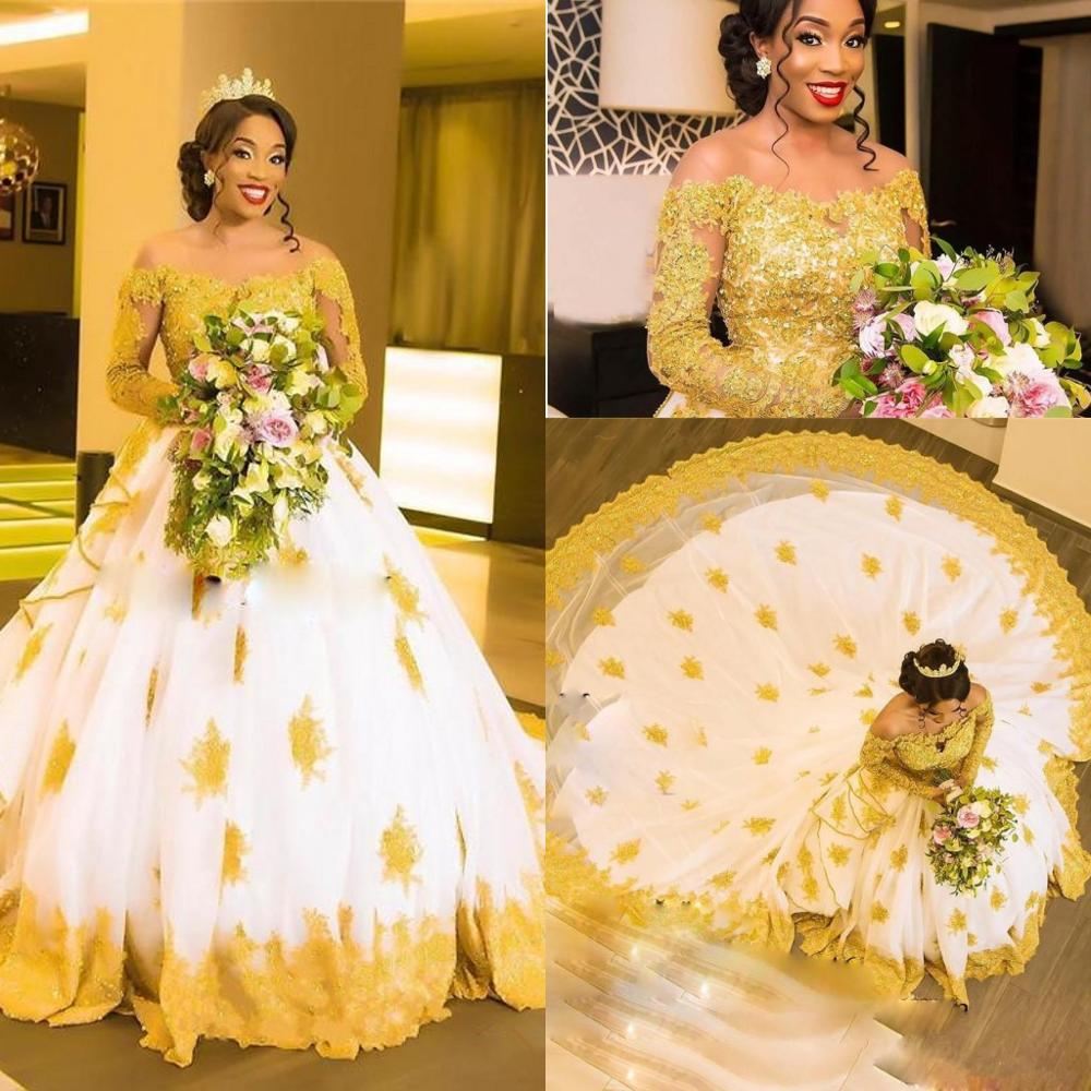 2020 Lace Wedding Dresses Sheer Neck Long Sleeve With Gold Appliques Africa Wedding Gowns Court Train Crystal Vestido De Novia