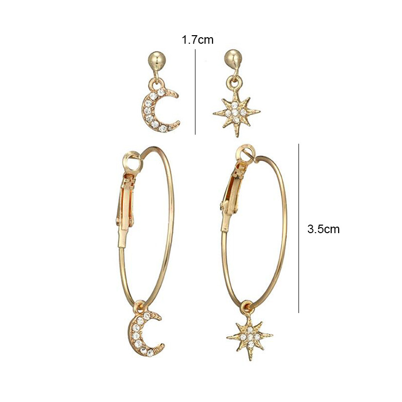 Linmouge Star Moon Earring set For Women New Elegant Round Fresh Hip Hop Punk Personality Gold Color Zircon Earrings Gift EF81