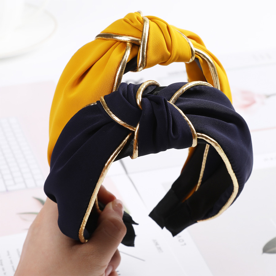 Haimeikang Korean New Bezel Headband Solid Color Knotting Female Head Hoop Hair Accessories Wide Non-slip Fashion Headdress
