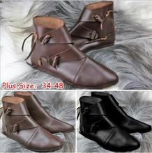 New flat bottom men boots knight flat shoes retro boots buckle men Western tube boots for men cheap D Howe kei Motorcycle boots ANKLE Lace-Up Solid Adult Fits true to size take your normal size Pointed Toe Rome Cow Suede