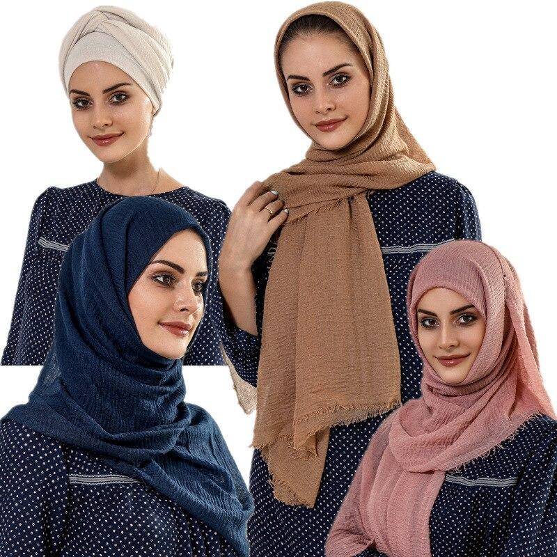 180*90cm Muslim Crinkle Hijab Scarf Solid Cotton Headscarf For Women Shawls And Wraps Islam Foulard Femme Trendy Hijabs Kopftuch