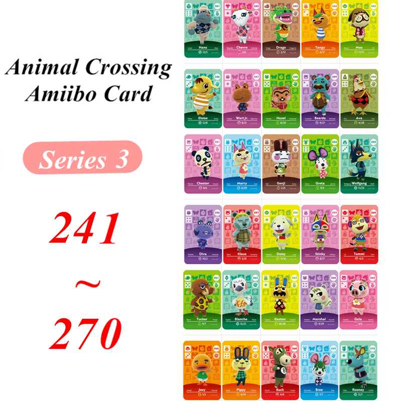 Animal Crossing Card Amiibo NFC Card 241 To 270 For Nintendo Switch NS Games Series 3  (241 To 270)