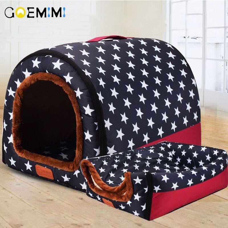 Новая Теплая будка для собаки удобный принт звезды питомник коврик для питомца щенка высшего качества складная кроватка для кота Лежанка для собаки
