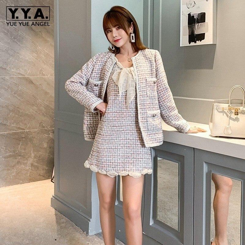 Elegant Women Long Sleeve Tweed Blazer V-Neck Short Tank Dress Two Piece Set Streetwear Autumn Vintage Plaid Pocket Tweed Jacket