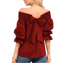 Fashion 2019 Women Elegant Long Sleeve Boho Shirt Off Shoulder Club Blouse Back Bow Casual Tops