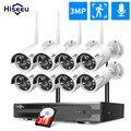 Камера наружного видеонаблюдения HD, беспроводная инфракрасная камера безопасности с функцией ночного видения, 8 каналов, 1080 пикселей, 2 Мп, п...