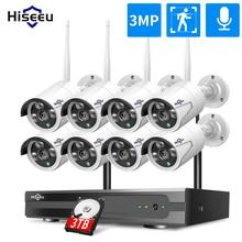 Kit NVR Wireless 3MP 1536P CCTV 8CH 3MP 3TB 1080P IR esterno visione notturna IP Wifi telecamera sistema di sicurezza kit di sorveglianza Hiseeu