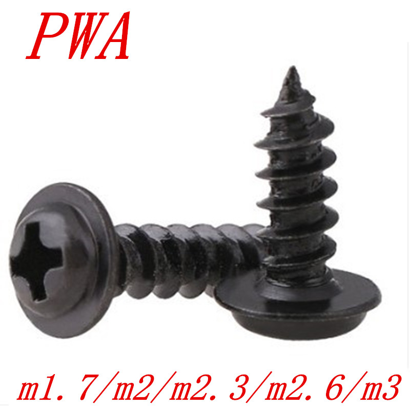 100PCS  M1.7 M2 M2.3 M2.6 M3*4/5/6/8/10/12 PWA Black Cross Round Head Self Tapping Screw With Pad Washer Pan Head Tapping Screws