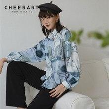 CHEERART Pope Vintage Print Blue Long Sleeve Blouse Button Down Shirt Loose Top Lantern Fall 2019 Clothing