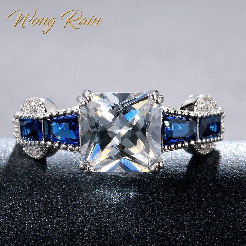 Wong Rain Vintage 925 Sterling Silver White Topaz Sapphir Gemstone Wedding Engagement White Gold Ring Fine Jewelry Wholesale