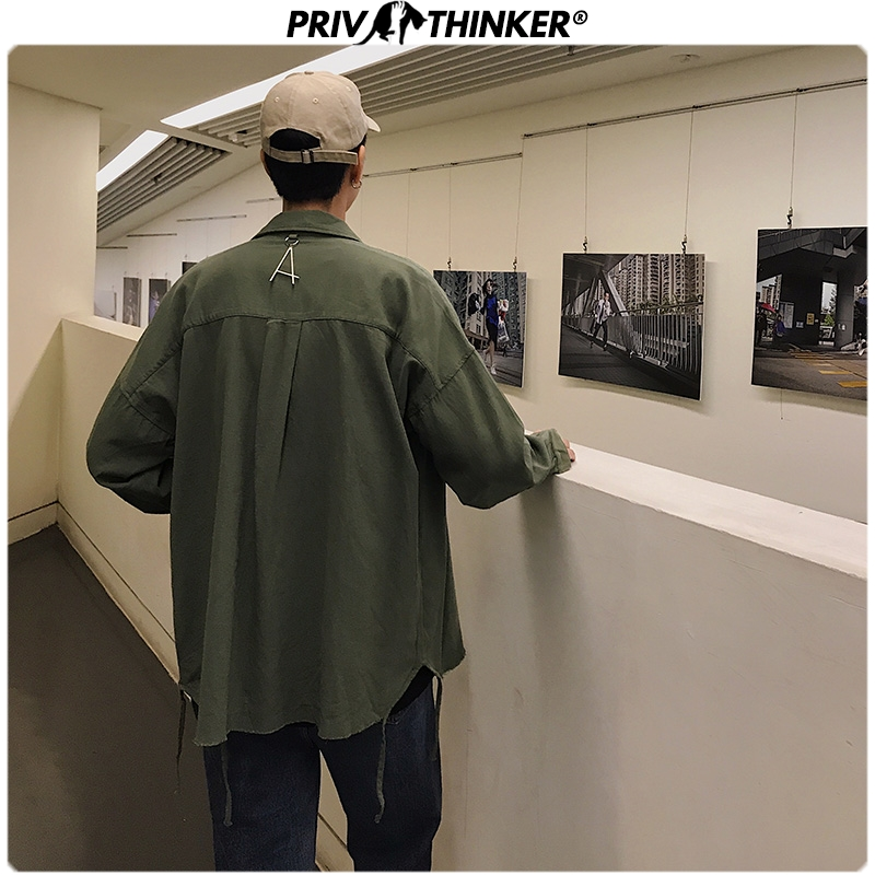 Privathinker Men Spring Cotton 2020 Solid Hip Hop Shirt Mens Fashion Korean Causal Shirts Male Long Sleeve Clothes Top Oversize