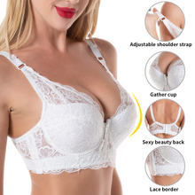 Plus Size bra sexy bralette crop top Underwear push up strapless bra bh lace Female bra Lingerie Brassiere sujetador biustonosz cheap Queenral Unlined Polyester CN(Origin) Wire Free Full Cup WOMEN Back Closure NONE everyday Solid Adjusted-straps 13a28 Front Closure Bras