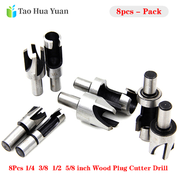 цена на 8pcs/set Barrel Cork Drill Bit Set Wood Plug Cutter Drill Cutting Tool Drill Bit Set Bored Hole Tenon Drills Woodworking Tools A