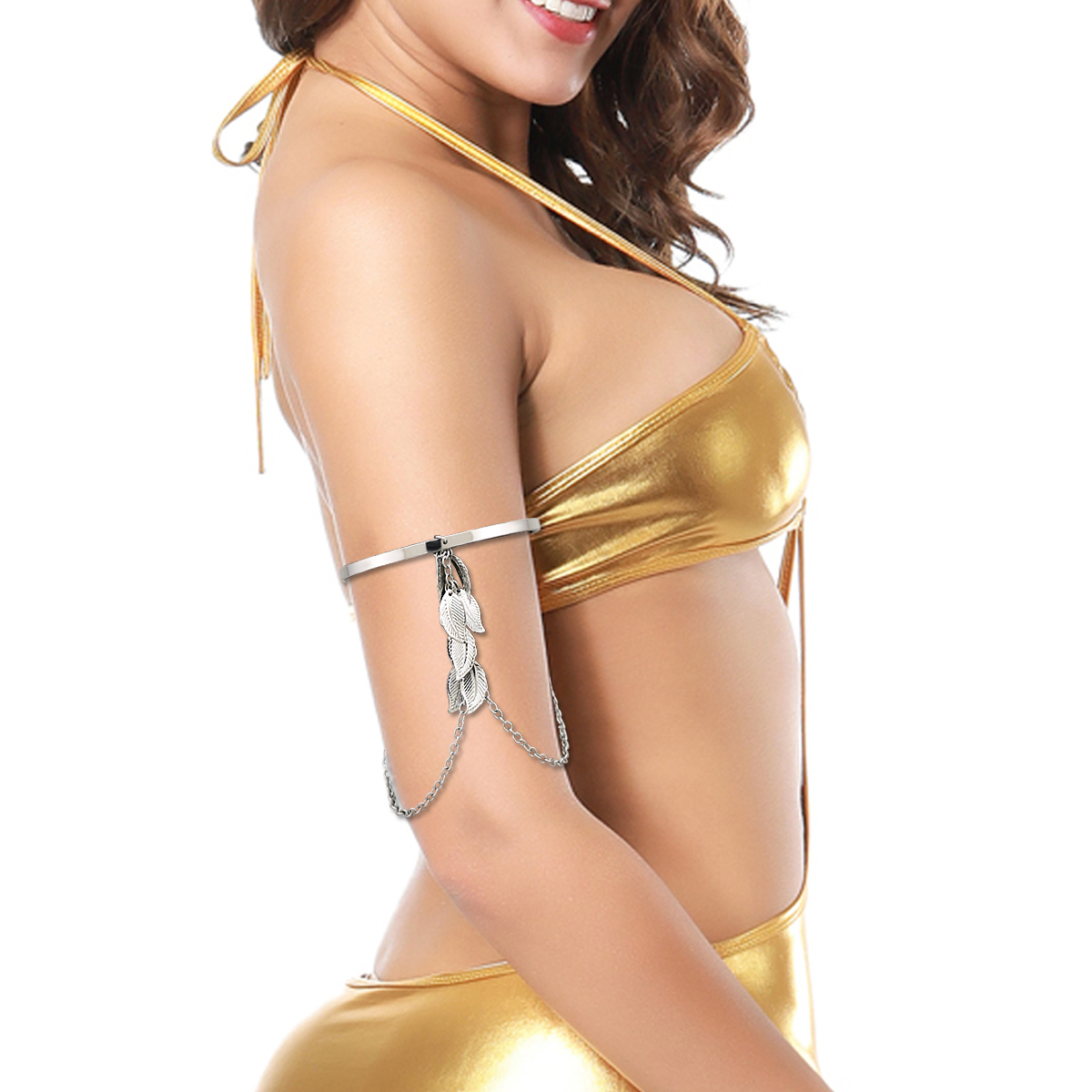 H229ff692edd34d36aeb600d4f9608c3eD Prata banhado a ouro grego folha de louro pulseira braçadeira braço superior manguito armlet festival nupcial dança do ventre jóias