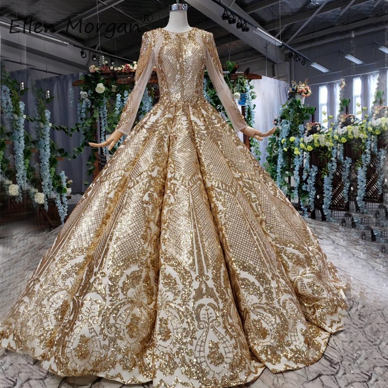 Arabic Gold Glitter Wedding Dresses Elegant 2019 Luxury Sequins Long Sleeves Boat Neck Lace Up Vestidos De Novia Bride Ball Gown