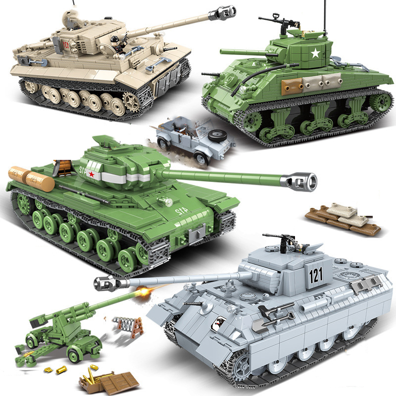Military Panther Tiger Tank Vehicle Building Blocks Compatible Legoed Technic City WW2 Soldier Weapon Army Bricks Kids Toy Gift