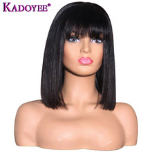 Bob Wig Bangs Lace-Wig Short Remy-Hair Pre-Plucked Natural-Color Brazilian Women 13x4