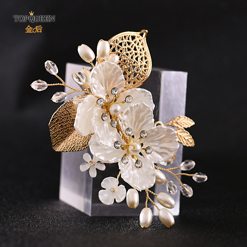 TOPQUEEN HP269 Flower Hair Clip Wedding Hair Stick Gold Leaves Flower Bridal Hair Accessories For Women Headpieces Bridal Tiara