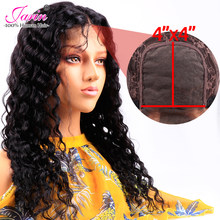 Bulk Sale Deep Wave 4x4 Lace Wigs Human Hair With Baby Hair Middle Part Medium Brown Wig Cap Brazilian Deep Curly Hair Free Ship(China)