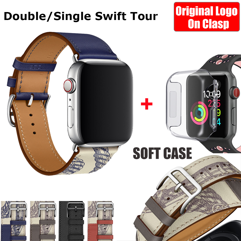 Herm Logo On Clasp Swift Leather Double Single Tour Watch Band Strap For Apple Watch Series 5 4 3 44mm 40mm Wristband For IWatch
