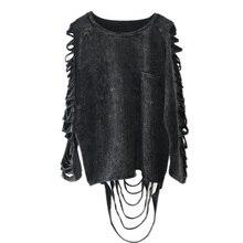 [Xitao] 2016 ホット販売ヨーロッパパンク人格のスタイルの女性洗濯 ブラックカラー中空アウトとタッセル女性tシャツYJ001