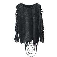 [Xtao] 2016 뜨거운 판매 유럽 펑크 성격 스타일 여성 세척 블랙 컬러 중공 및 술 여성 t 셔츠 YJ001