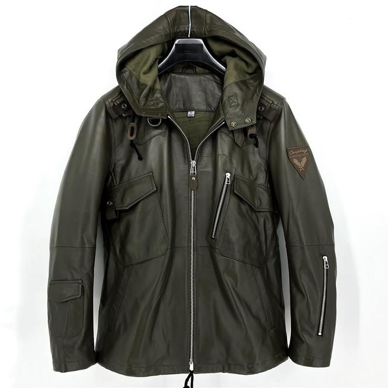 Men's genuine sheepskin lamb leather military army coat jacket with a hood for male spring autumn fall green plus size xxxxxl
