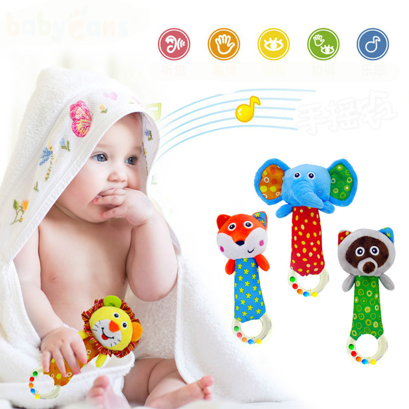 Newborn 0-3 Years Plush Baby Educational Toy Animal Hand Bells Baby Rattle Toys Gift Animal Lion Elephant Fox Plush Doll