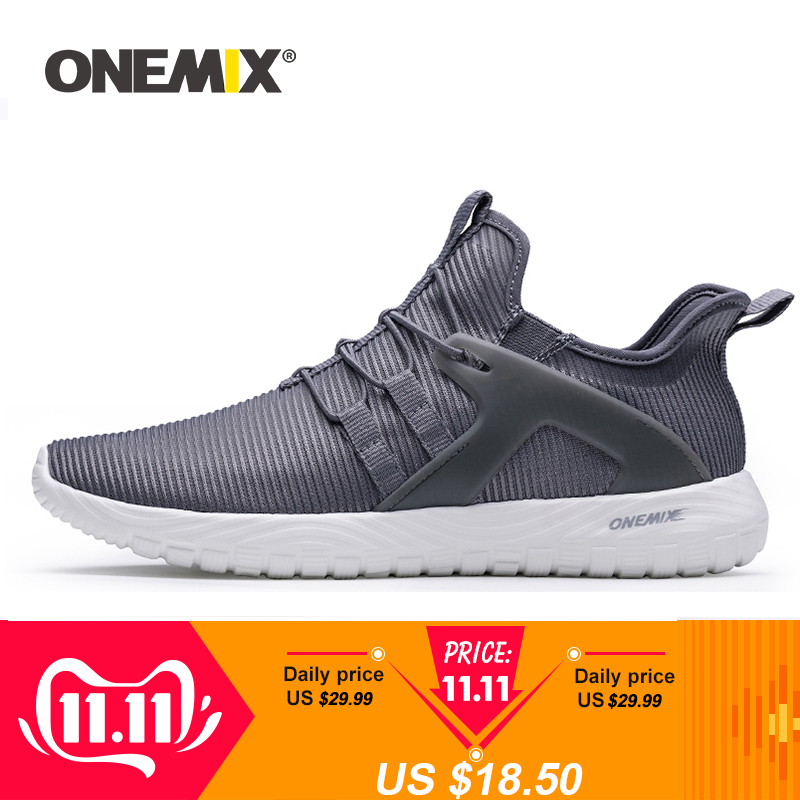 ONEMIX 2019 Men Running Shoes Women Sneakers Super Light High Elastic Soft Outsole Outdoor Jogging Walking Tennis Shoes Loafers