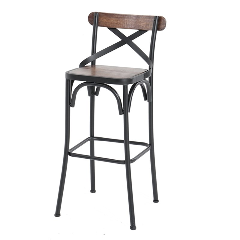 American Wrought Iron Solid Wood Bar Stool With Back High Chair Bar Chair Bar Chair Cashier Chair High Stool
